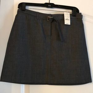 Belted midi charcoal gray skirt